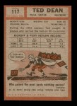 1962 Topps #117  Ted Dean  Back Thumbnail