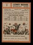 1962 Topps #2  Lenny Moore  Back Thumbnail