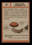 1962 Topps #49   Cowboys Team Back Thumbnail
