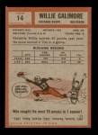 1962 Topps #14  Willie Galimore  Back Thumbnail