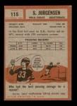 1962 Topps #115  Sonny Jurgensen  Back Thumbnail