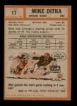 1962 Topps #17  Mike Ditka  Back Thumbnail