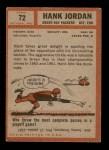 1962 Topps #72  Hank Jordan  Back Thumbnail