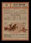 1962 Topps #79  Ollie Matson  Back Thumbnail