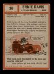 1962 Topps #36  Ernie Davis  Back Thumbnail