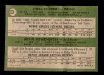 1971 Topps #231   -  Vince Colbert / John Lowenstein Indians Rookies Back Thumbnail