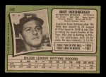 1971 Topps #149  Mike Hershberger  Back Thumbnail