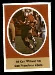1972 Sunoco Stamps  Ken Willard  Front Thumbnail