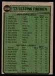 1974 Topps #208   -  John Hiller / Mike Marshall Leading Firemen   Back Thumbnail