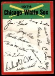 1974 Topps Red Checklist   White Sox Red Team Checklist Front Thumbnail