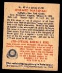 1949 Bowman #48  Willard Marshall  Back Thumbnail