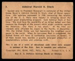 1941 Gum Inc. War Gum #3   Admiral Harold R. Stark Back Thumbnail