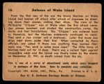1941 Gum Inc. War Gum #10   Defense Of Wake Island Back Thumbnail