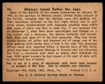 1941 Gum Inc. War Gum #44   Midway Island Defies The Japanese Back Thumbnail