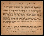 1941 Gum Inc. War Gum #30   Commandos Bag Japanese General Back Thumbnail