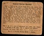 1941 Gum Inc. War Gum #19   General George Marshall Back Thumbnail