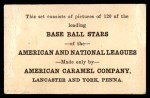 1922 E121-120 American Caramel  Jim Bagby  Back Thumbnail