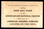 1922 E121-120 American Caramel  Elmer Miller  Back Thumbnail