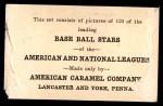 1922 E121-120 American Caramel  Stanley Coveleski  Back Thumbnail