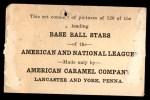 1922 E121-120 American Caramel  Bill Wambsganss  Back Thumbnail