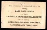 1922 E121-120 American Caramel  Urban Shocker  Back Thumbnail