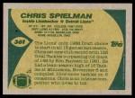 1989 Topps #361  Chris Spielman  Back Thumbnail