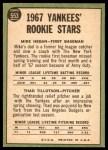 1967 Topps #553   -  Mike Hegan / Thad Tillotson Yankees Rookies Back Thumbnail