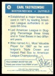 1977 Topps Cloth #53  Carl Yastrzemski  Back Thumbnail