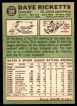 1967 Topps #589  Dave Ricketts  Back Thumbnail
