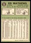 1967 Topps #166  Eddie Mathews  Back Thumbnail