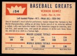 1960 Fleer #54  Lefty Gomez  Back Thumbnail