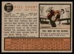 1962 Topps #221  Bill Short  Back Thumbnail