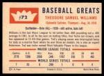 1960 Fleer #72  Ted Williams  Back Thumbnail