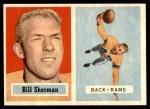 1957 Topps #58 BTH Bill Sherman   Front Thumbnail
