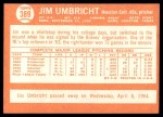1964 Topps #389  Jim Umbricht  Back Thumbnail