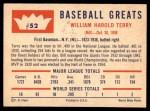 1960 Fleer #52  Bill Terry  Back Thumbnail