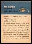 1962 Fleer #12  Art Baker  Back Thumbnail