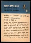 1962 Fleer #51  Tony Banfield  Back Thumbnail