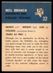 1962 Fleer #32  Mel Branch  Back Thumbnail
