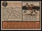 1962 Topps #222  Jerry Zimmerman  Back Thumbnail