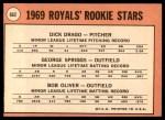 1969 Topps #662   -  Dick Drago / Bob Oliver / Geroge Spriggs Royals Rookies Back Thumbnail