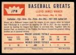 1960 Fleer #78  Lloyd Waner  Back Thumbnail