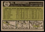 1961 Topps #562  Bill Monbouquette  Back Thumbnail