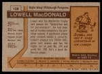 1973 Topps #128  Lowell MacDonald   Back Thumbnail