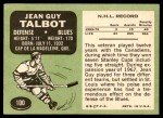 1970 Topps #100  Jean Guy Talbot  Back Thumbnail