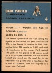 1962 Fleer #4  Babe Parilli  Back Thumbnail