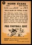 1967 Topps #85  Norm Evans  Back Thumbnail