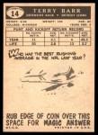 1959 Topps #14  Terry Barr  Back Thumbnail