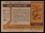 1973 Topps #143  Joey Johnston   Back Thumbnail