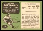 1970 Topps #124  Howie Menard  Back Thumbnail